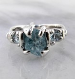 Organic Raw Aquamarine Trillion Cut Silver Ring, Superior Sprite