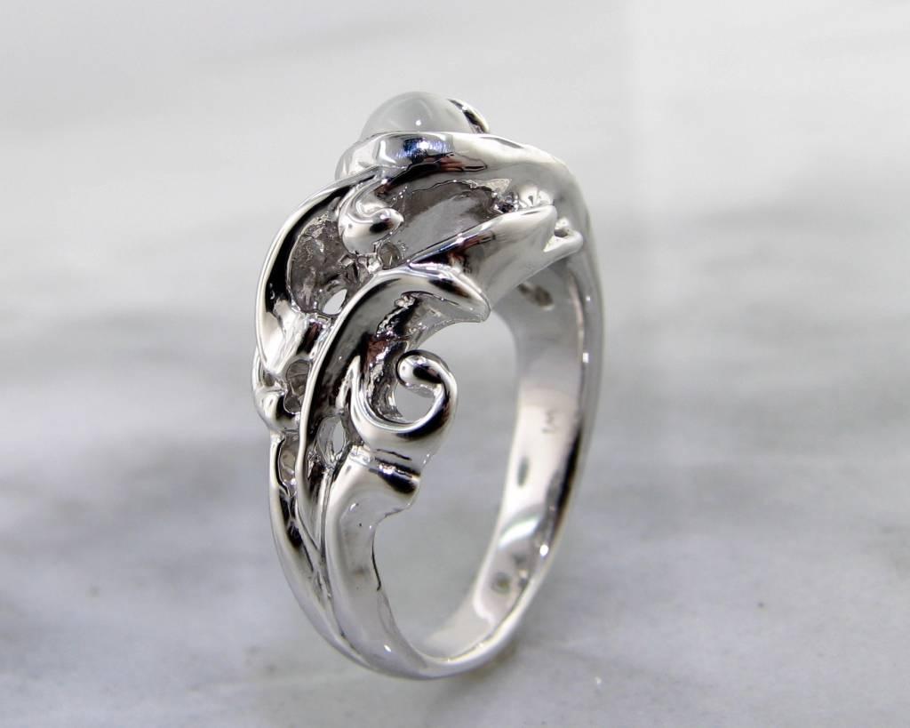 Undersea Moonstone Silver Ring, Undersea Swirl