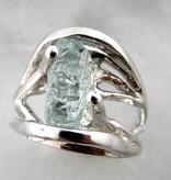 Sleek Raw Aquamarine Silver Ring, Openwork Arches