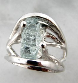 Sleek Raw Aquamarine Silver Ring, Openwork Arches