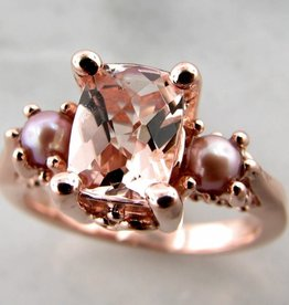 Vintage Morganite Pearl Rose Gold Ring, Old Paris