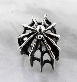 Organic Black Widow Spider Silver Ring