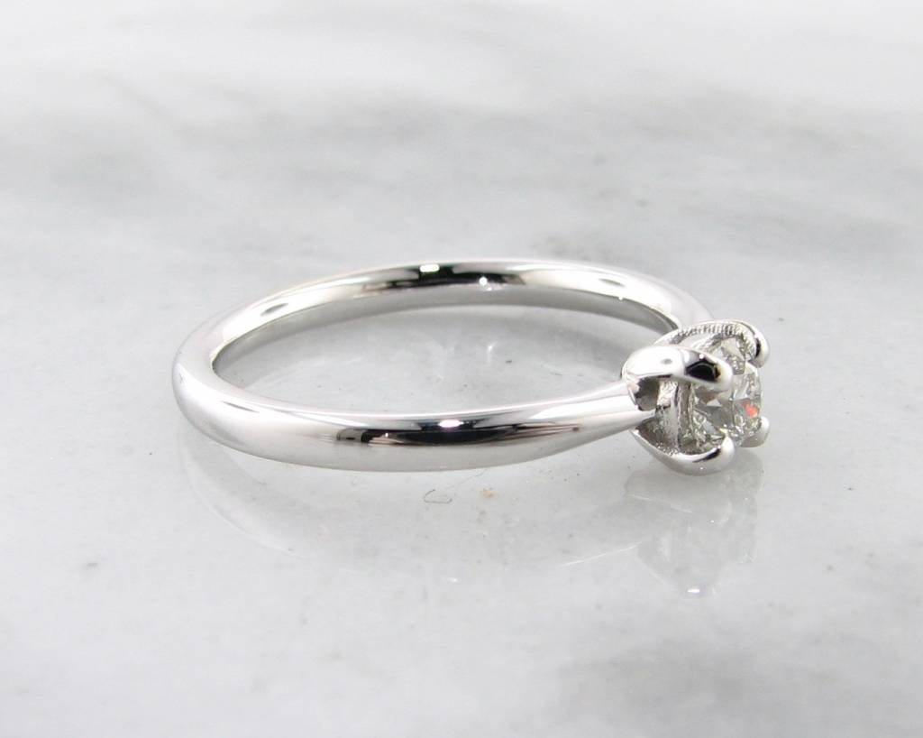 Timeless Bridal White Gold Diamond Solitaire Engagement Ring, Wexford Standard Slimline