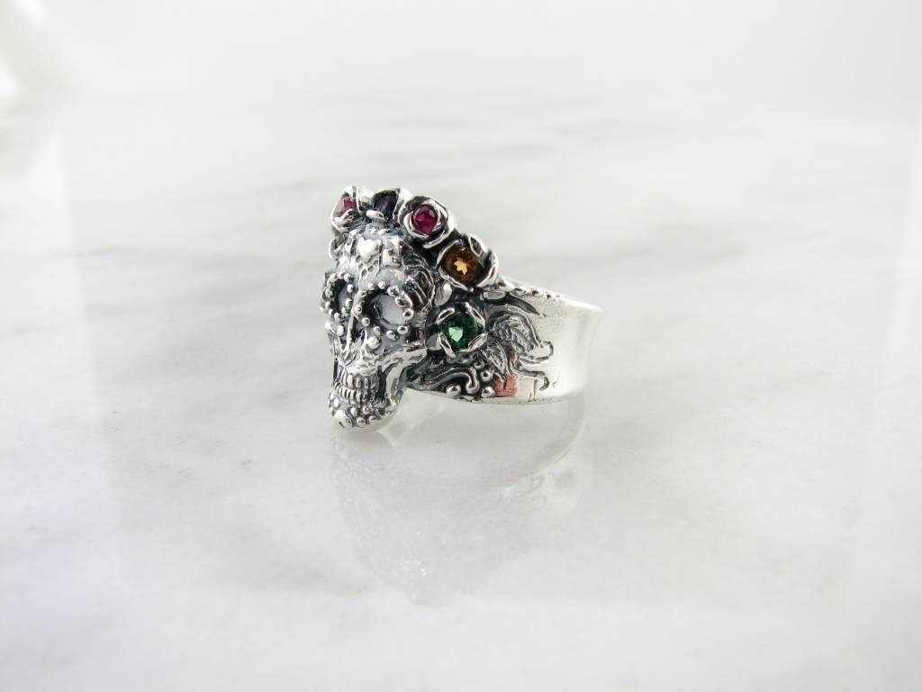 Silver Multi Gemstone Ring, Sugar Skull Calavera Crown