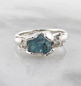 Organic Raw Aquamarine Diamond Silver Ring, Unfolded