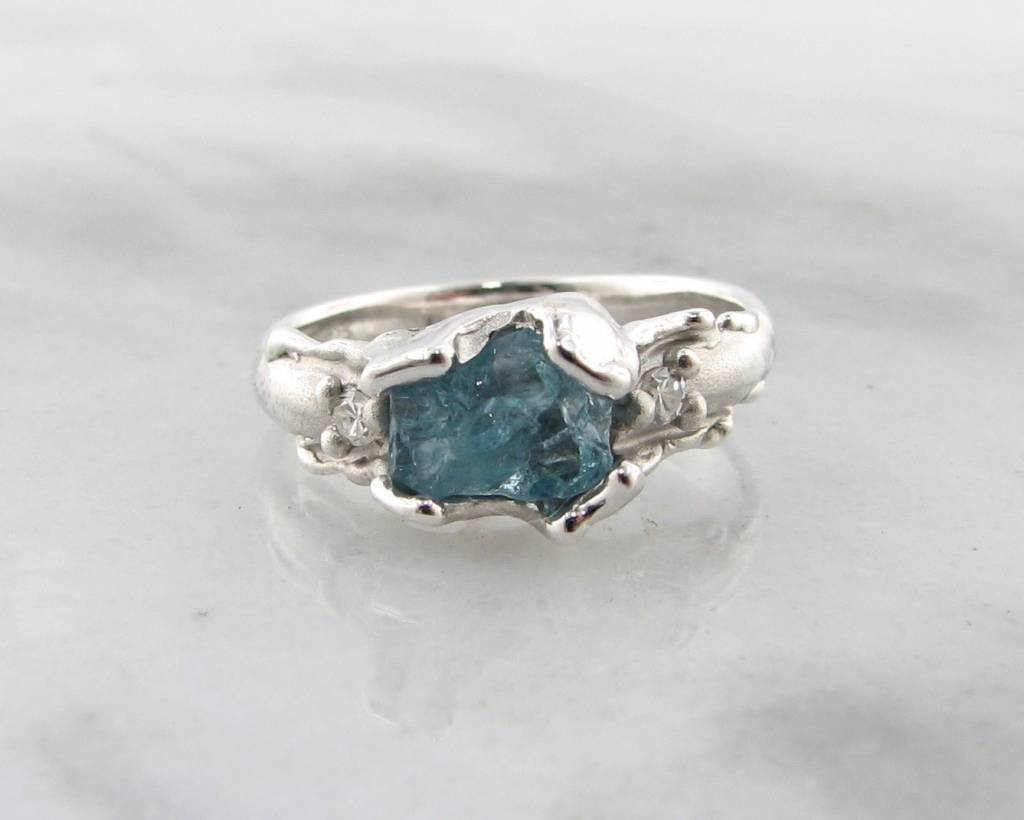 ring aqua engagement pave aquamarine rings micro