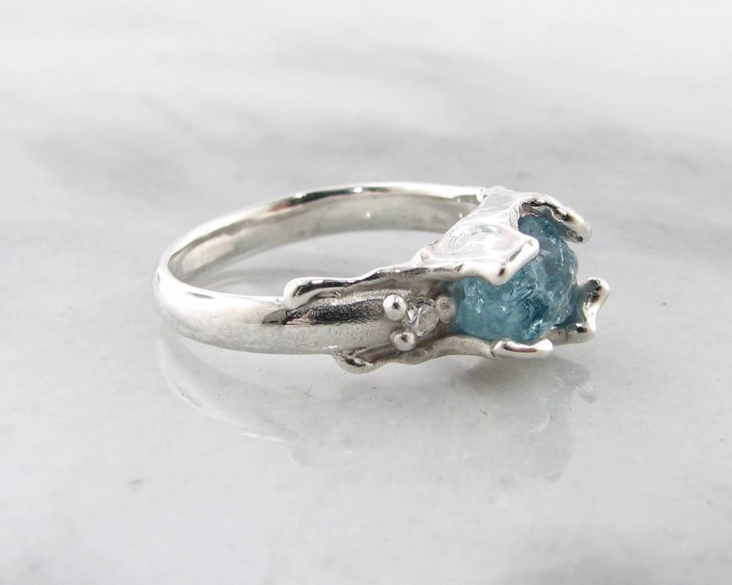 Organic Raw Aquamarine Diamond Silver Ring, Unfolded