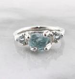 Organic Raw Aquamarine Silver Ring, Iceberg