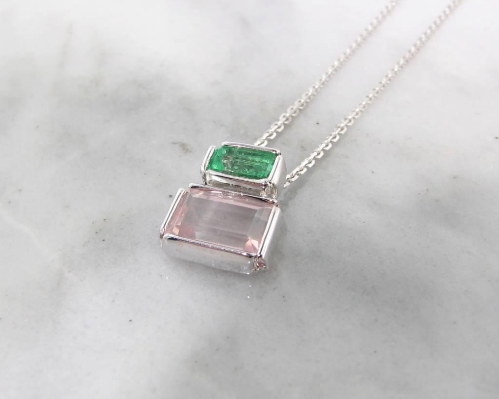 Sleek Emerald Kunzite Silver Necklace, Boho Blush Empire