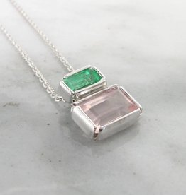Sleek Emerald Kunzite Silver Necklace, Boho Blush Empire