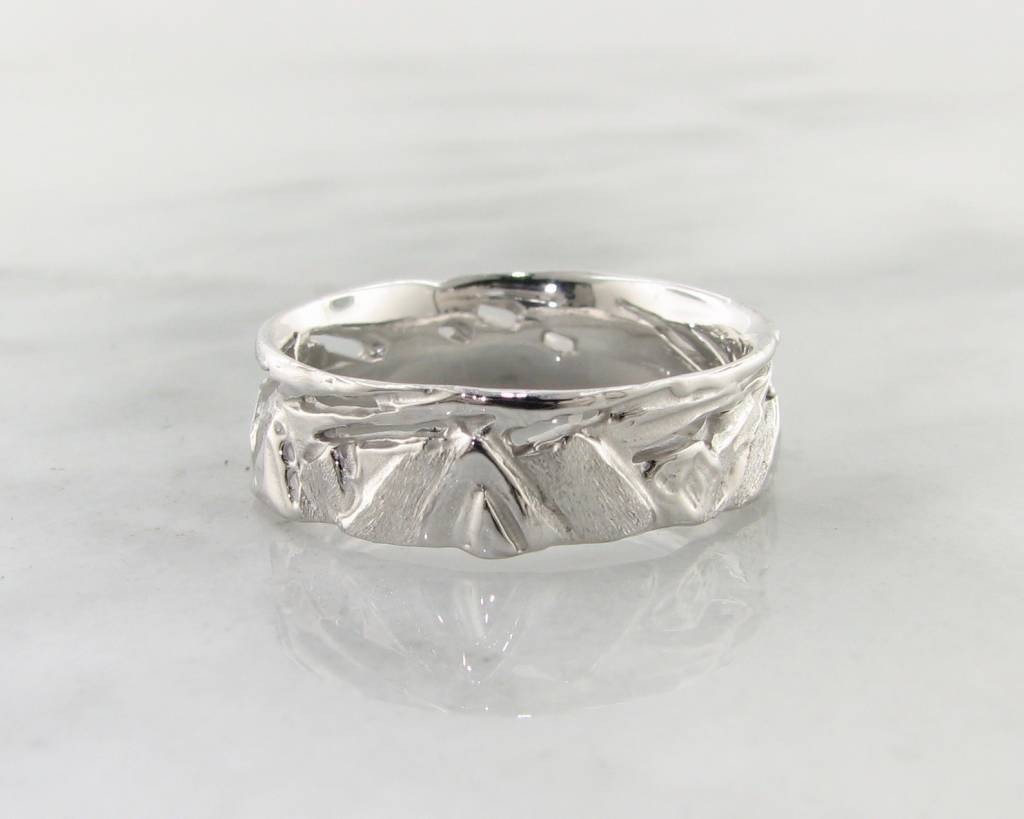 Rustic Silver Ring, Mountain Band
