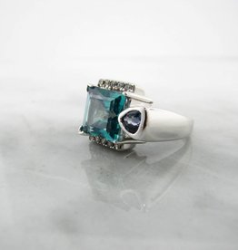 Frank Reubel Silver Caribbean Blue White Topaz Tanzanite Silver Ring, Architectural