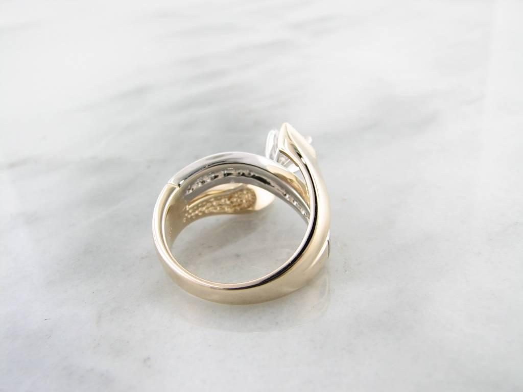 Trending Bridal Diamond White Yellow Gold Wedding Ring, Mivdas Tidal Wave (Semi Mount)