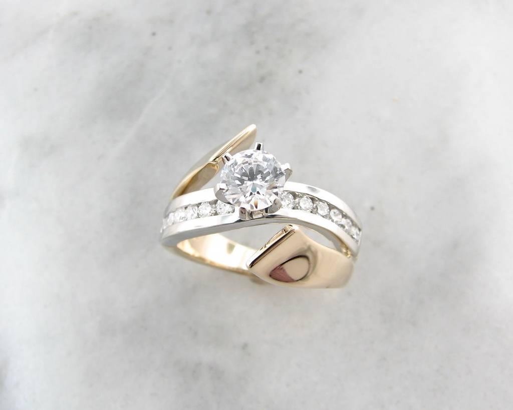 Diamond White Yellow Gold Wedding Ring, Midas Tidal Wave - Wexford ...