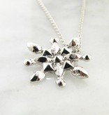 Snowflake Silver Snowflake Necklace, Faceted