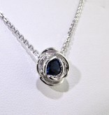 Signature Rose Silver Sapphire September Birthstone Necklace, Rose Slider