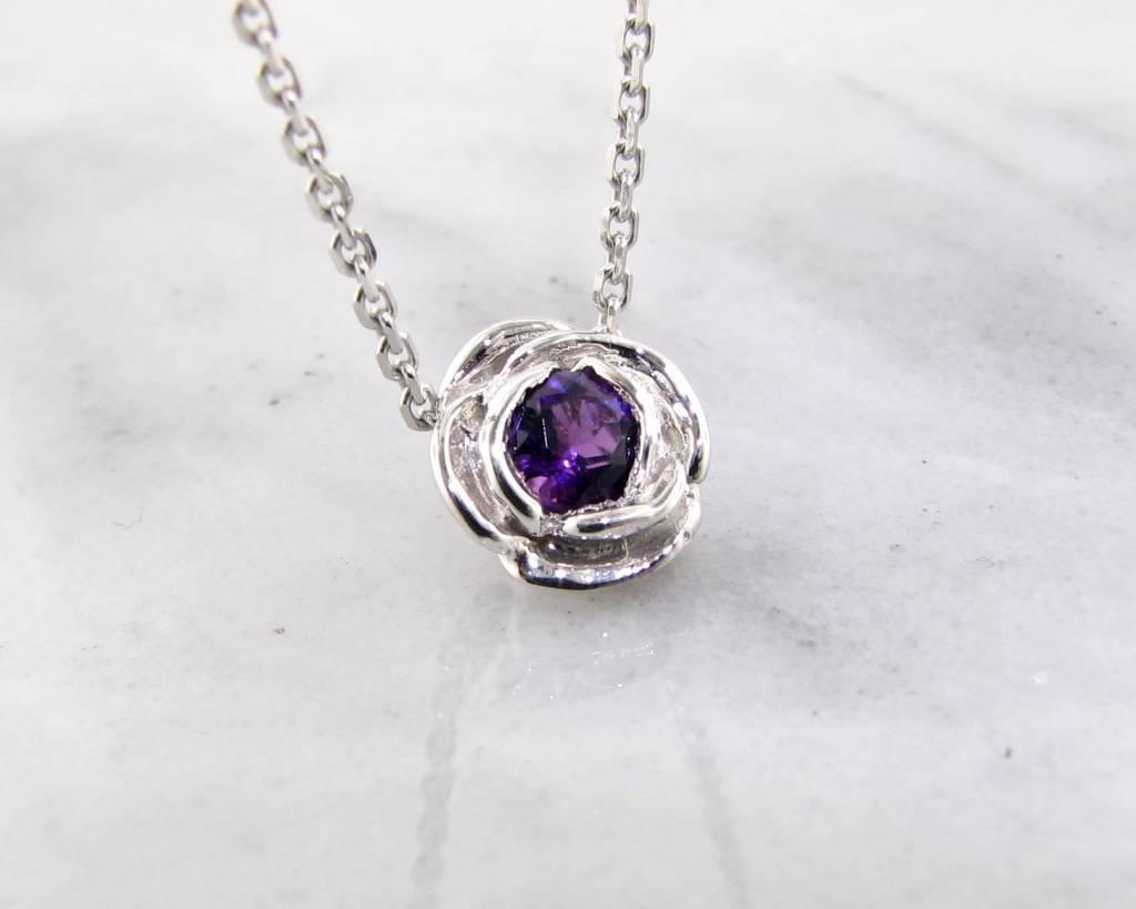Signature Rose Silver Amethyst February Birthstone Necklace, Rose Slider