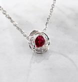 Signature Rose Silver Ruby July Birthstone Necklace, Rose Slider