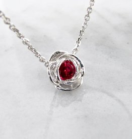 Signature Rose Silver Ruby July Birthstone Necklace, Rose Slider