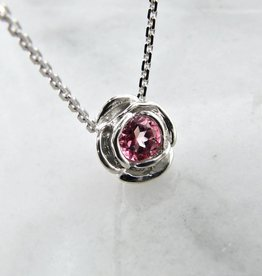 Signature Rose Silver Pink Tourmaline October Birthstone Necklace, Rose Slider