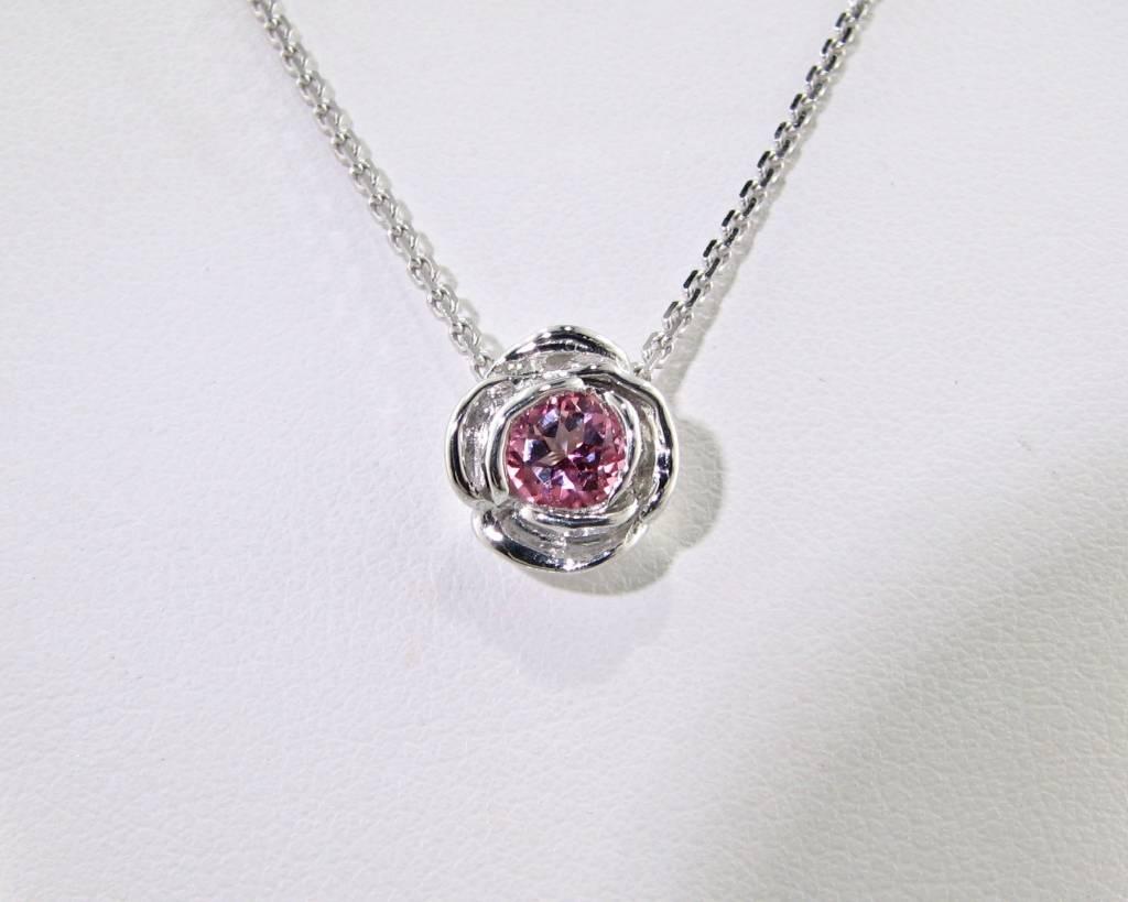 Signature Rose Silver Pink Tourmaline October Birthstone Necklace, Rose Slider