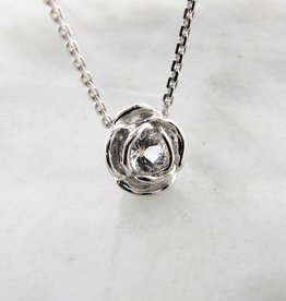 Signature Rose Silver White Topaz April Birthstone Necklace, Rose Slider
