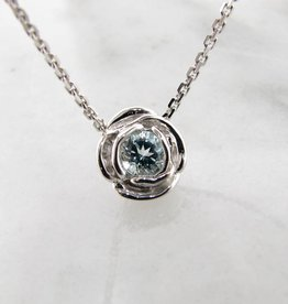 Signature Rose Silver Aquamarine March Birthstone Necklace, Rose Slider
