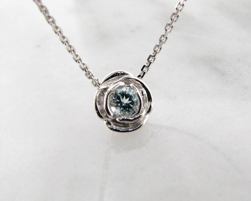 birthstone aquamarine card with charmed march lily jewellery message necklace