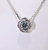 Signature Rose Silver Aquamarine March Birthstone Necklace, Rose Slider