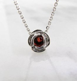 Signature Rose Silver Garnet January Birthstone Necklace, Rose Slider