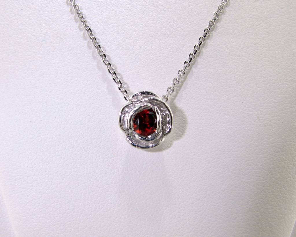 Signature Rose Silver Garnet January Birthstone Necklace, Rose Slider