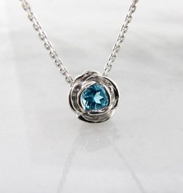 Signature Rose Silver Blue Topaz December Birthstone Necklace, Rose Slider