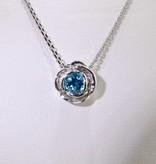 Signature Rose Silver Blue Topaz December Birthstone Necklace, Rose Slider