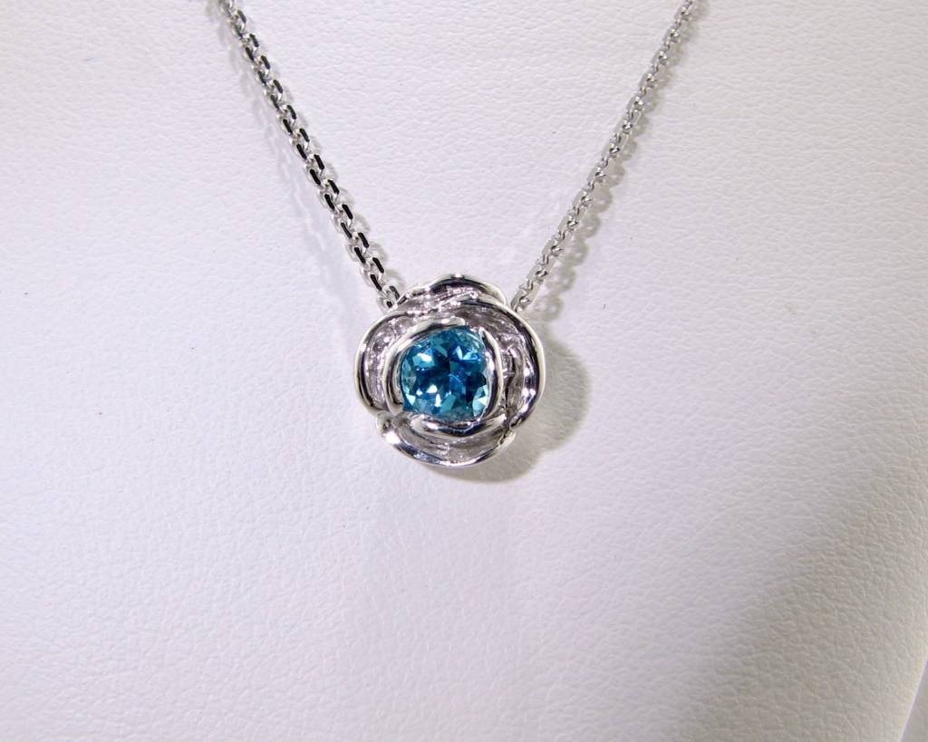 Silver Blue Topaz December Birthstone Necklace, Rose Slider ...
