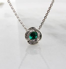 Signature Rose Silver Emerald May Birthstone Necklace, Rose Slider
