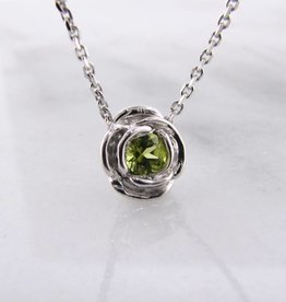 Signature Rose Silver Peridot August Birthstone Necklace, Rose Slider