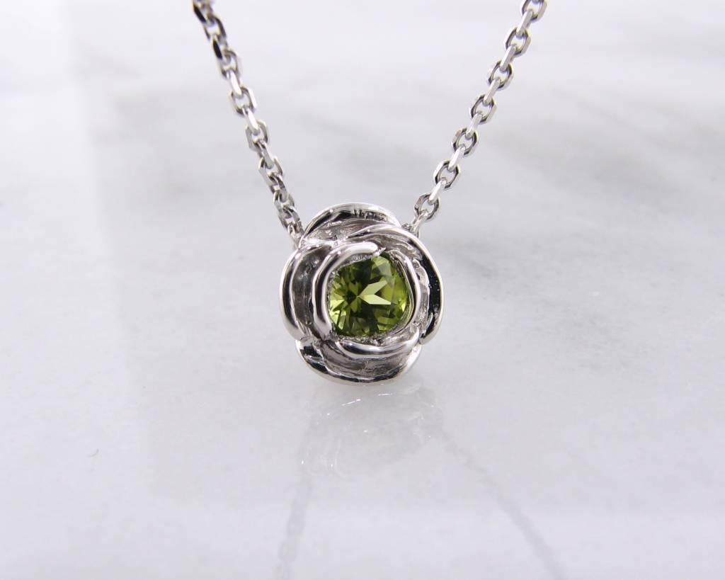 birthstone gold white peridot necklace august