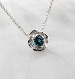 Signature Rose Silver London Blue Topaz December Birthstone Necklace, Rose Slider