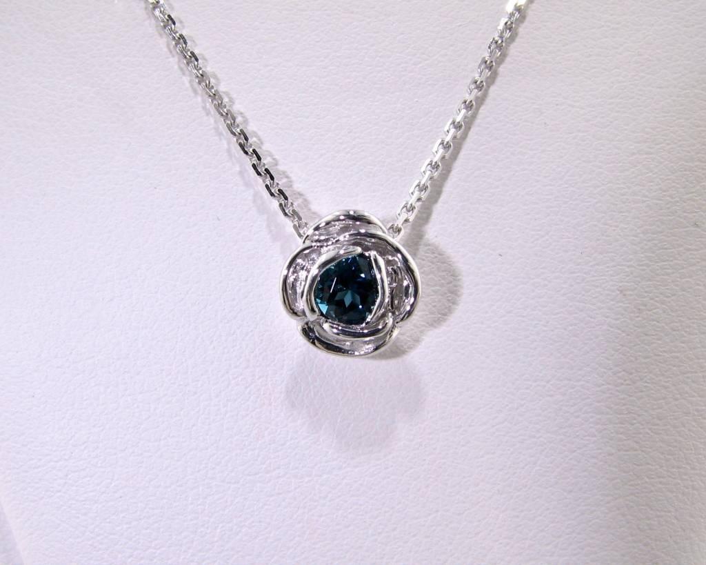 Signature Rose Silver London Blue Topaz December Birthstone Necklace, Rose Slider