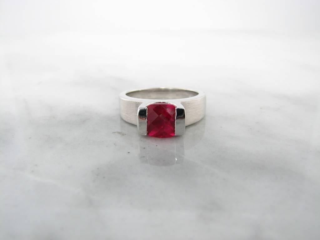 Frank Reubel Pink Topaz Cushion Cut Silver Ring, Pink Amora