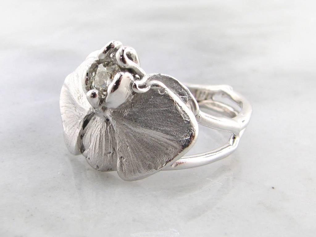 Organic Silver & Diamond Orchid Ring, Phalaenopsis