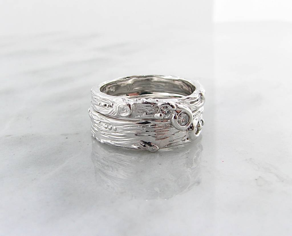 Organic Silver Diamond Ring, Birch Engagement Set