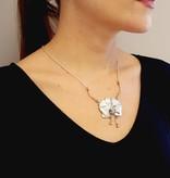 Organic Silver Rose Gold Orchid Pendant Antique Diamonds