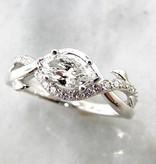 Trending Bridal White Gold Marquise Diamond Wedding Ring, Leaf Vine