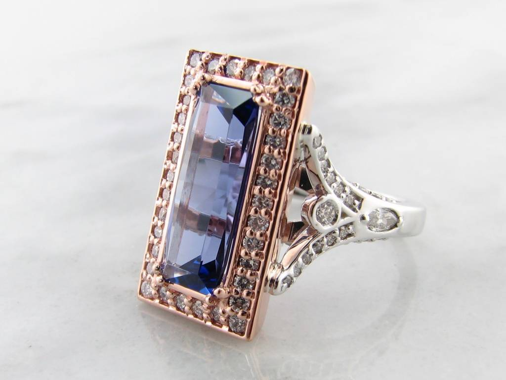 Vintage White Rose Gold Tanzanite Diamond Ring, Lavish
