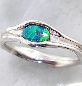 Organic Opal Silver Ring, Skinny Melted Band