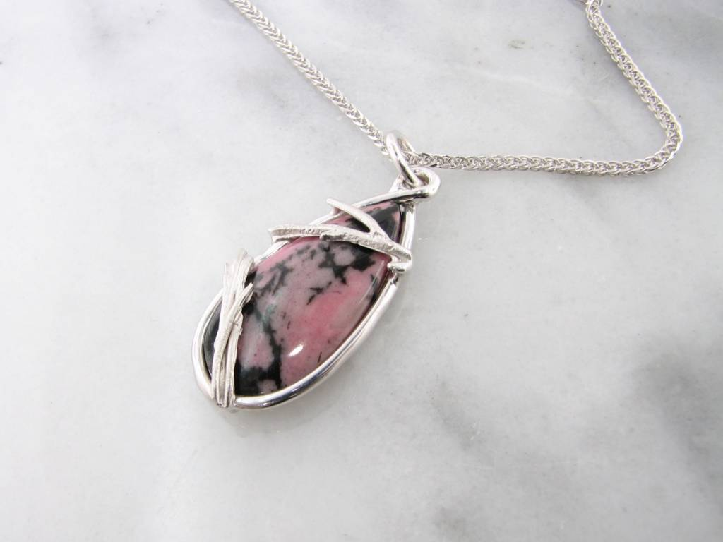 Rustic Rhodonite Silver Twig Antler Necklace, Princess Warrior