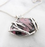 Rustic Rhodonite Silver Twig Antler Necklace, Pink Camo