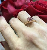 Vintage Champagne Sapphire Rose Gold Ring, Lace Bezel
