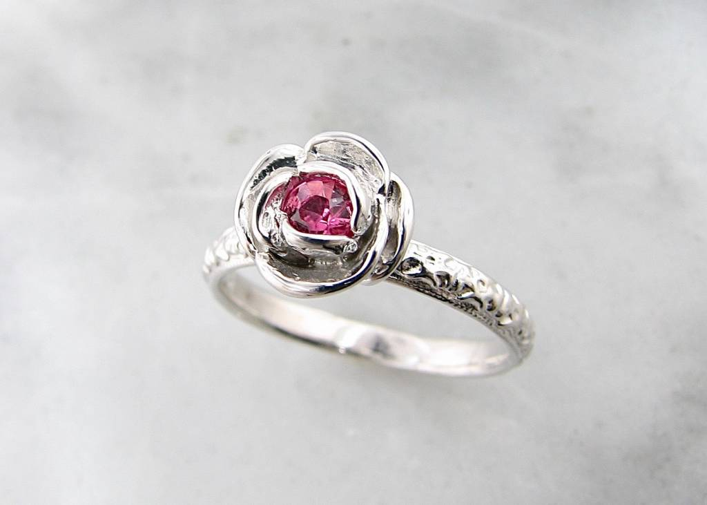 Signature Rose Pink Topaz Silver Ring, Stacking Solitaire Rose